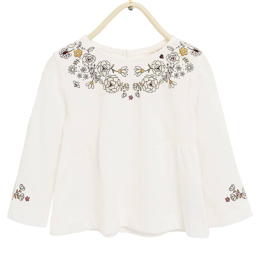 Zara White Long Sleeve T Shirt With Flowers