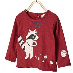 Zara claret long sleeve T-Shirt with racoon