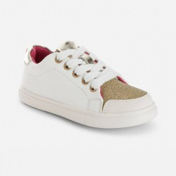 Mayoral white-gold shoes