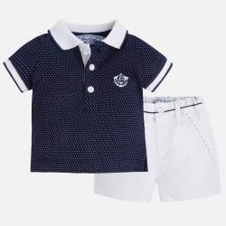 Mayoral kék piké póló + elegáns fehér nadrág