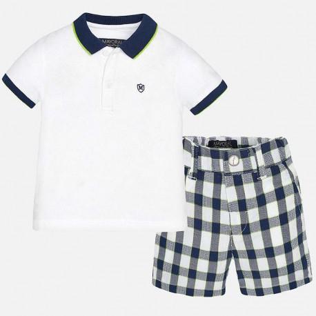 Mayoral fehér piké póló + kockás nadrág