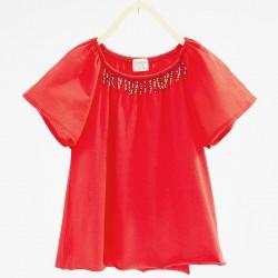 ZARA gyöngyös piros póló