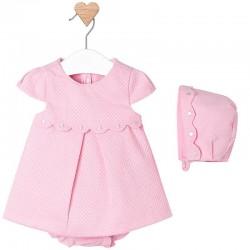 Mayoral rózsaszín nyomott mintás ruha kisnadrággal és sapkával