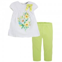Mayoral virágos strasszos hosszított blúz + leggings