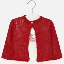 Mayoral long sleeve white T-Shirt with red cardigan