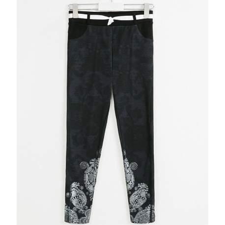 Desigual fekete mintás pamut nadrág