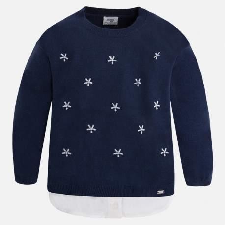 Mayoral kék gyöngyös pulóver