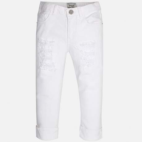 Mayoral ripped white denim