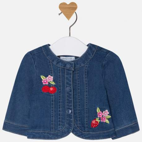Mayoral denim jacket with embroidery