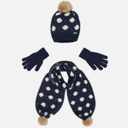 Mayoral white baby hat with gloves