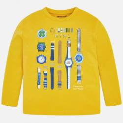Mayoral yellow long sleeve T-Shirt with watches