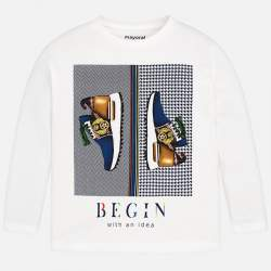 Mayoral white long sleeve T-Shirt with shoes