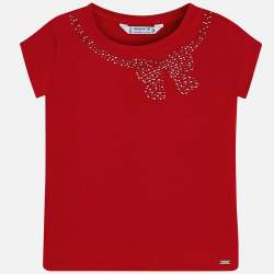 Mayoral red blouse with rhinestones