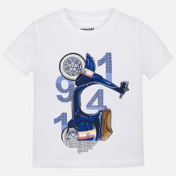 Mayoral white T-shirt with scooter