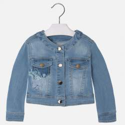 Mayoral denim jacket with embroidered flowers