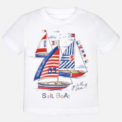 Mayoral white T-shirt with sailing boat
