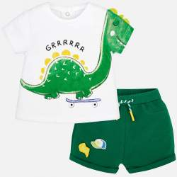 Mayoral T-shirt with dino + shorts