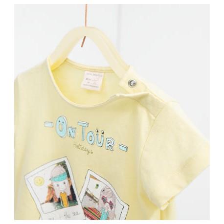 ZARA sárga póló csillogós képpel