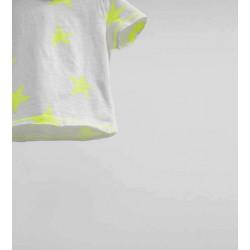ZARA fehér póló neonzöld csilagokkal