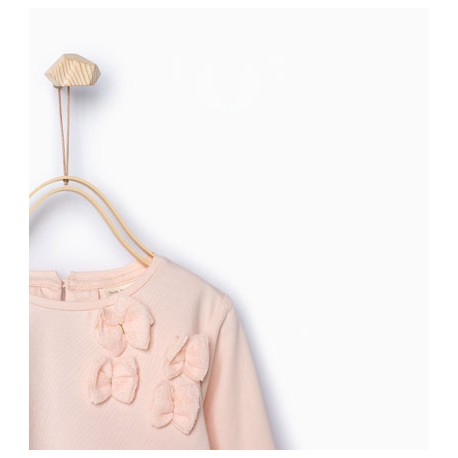 7d4f2c7289dc ZARA pink long sleeve T-shirt with bows