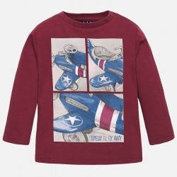 Mayoral claret long sleeve T-Shirt with airplane