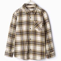 ZARA grey-brown-white plaid shirt