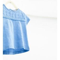 ZARA kék csipkés póló