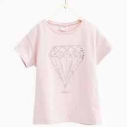 ZARA rózsaszín gyémántos póló