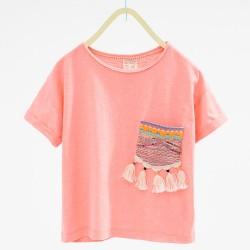 ZARA pink T-shirt with embrodiery pocket
