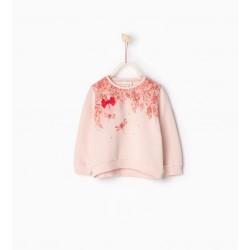 ZARA rózsaszín pulóver csillogós képpel