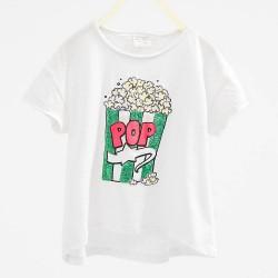 ZARA flitteres, popcornos fehér póló