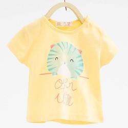 ZARA yellow T-shirt with cat