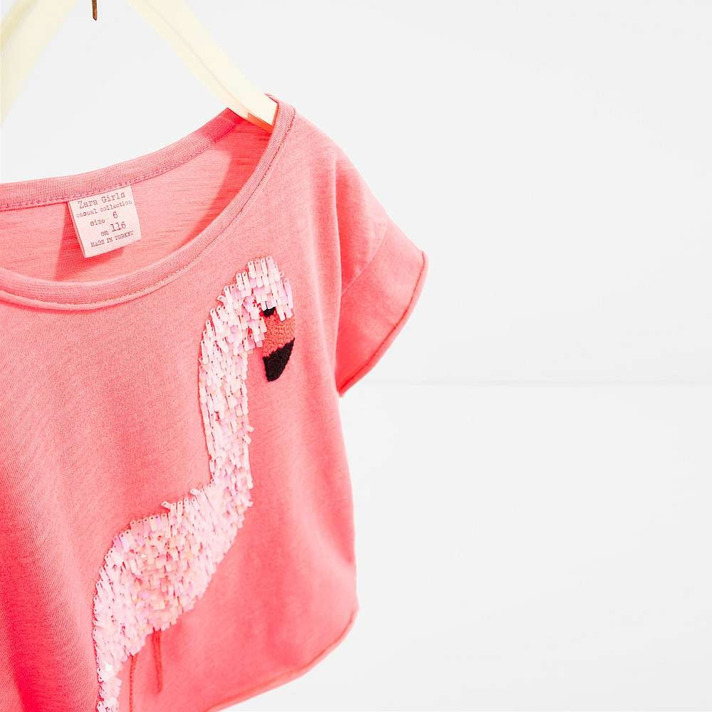 Zara Pink T Shirt With Flamingo