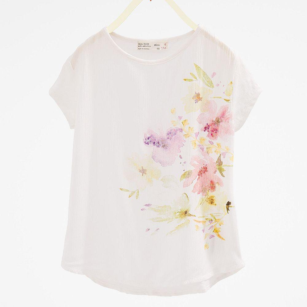 Zara White T Shirt With Flowers