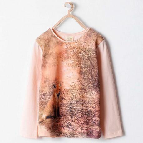 eea911c91f84 ZARA pink long sleeve T-shirt with fox