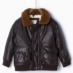 ZARA brown lining leather jacket
