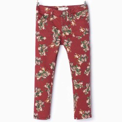 ZARA Claret Trousers with Flowers