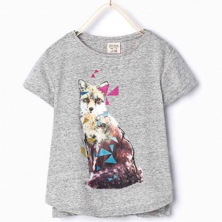 ZARA grey T-Shirt wit fox