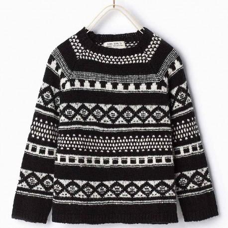 ZARA black / white knitted pullover