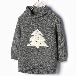 ZARA knitted pullover with pine tree