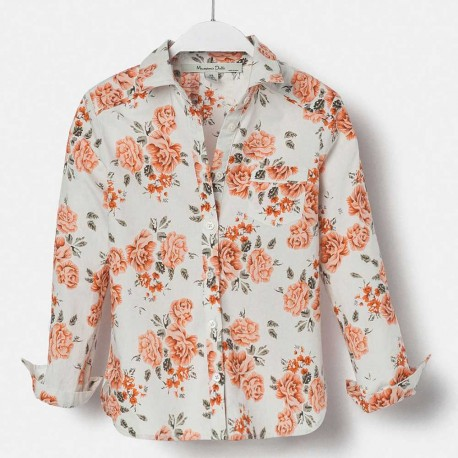 Massimo Dutti White Shirt with Roses