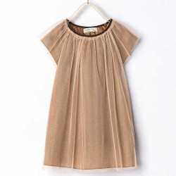 ZARA brown dress with gold mica