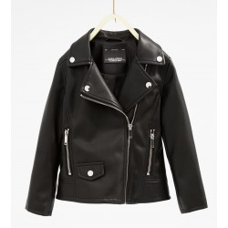 ZARA fekete műbőr kabát