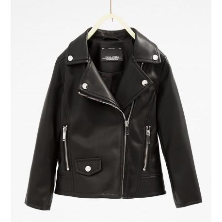 ZARA fekete műbőr kabát 683a722018
